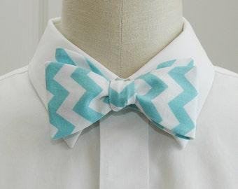 Men's Bow Tie aqua & white chevrons, geometric print bow tie, wedding party wear, groomsmen gift, groom bow tie, custom handmade bow tie