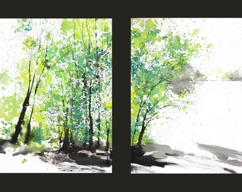 Diptych No.29 Spring Trees, limited edition of 50 fine art giclee prints from my original watercolor