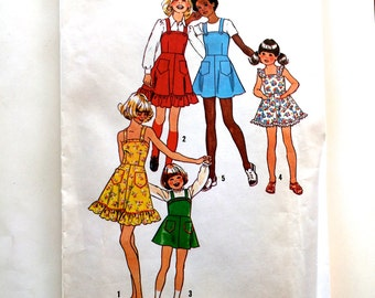 70s Simplicity 6996 Girls Dress with Ruffle or Jumper with Straps Size 10 Bust 28