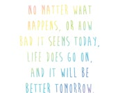 Inspirational Maya Angelou Quote — It Will be Better Tommorow — Watercolor Art Print. Instant Digital Download.