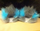 Grey and Teal Cheshire Movie Fuzzy Cat Ear Clips With or Without Tail