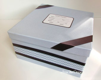 Baby Keepsake Box, Baby Shower Box, Infant Memory Box, Baby Gift, Christening gift - Made to Order Custom Made