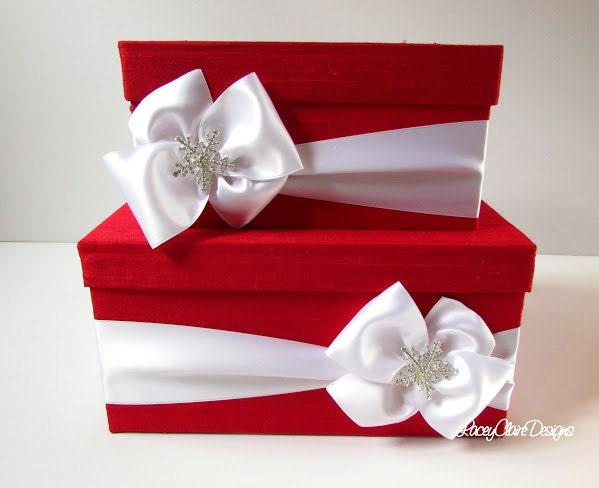 Wedding Card Box Money Holder Winter Wedding Card Box Custom