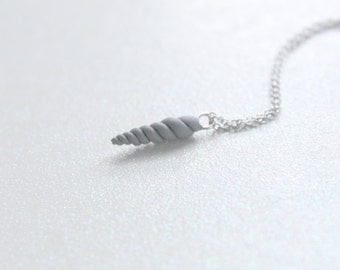 Tiny Soft Grey Unicorn Horn Necklace