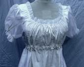 English Regency Jane Austen Dress in Silk with Embroidered Silk Panels