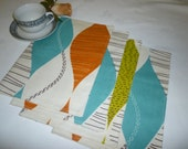 Orange Cinammon Blue Placemats Green Funky fabric mix and match home decor washable