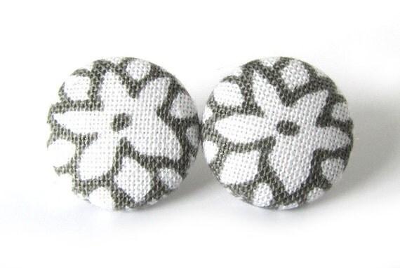 SALE White gray earrings - tiny fabric earrings - white stud earrings - gray button earrings - small post earrings grey flower