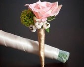 Pink Rose Silk Wedding Boutonniere - Pink Rose, Green Scabiosa and Berries