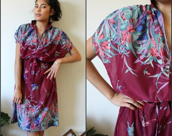 Vintage Sz Small Sheer Floral 80s Dress By How Sweet It Is