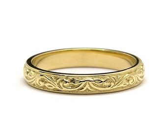 Hand Engraved Foliage Wedding Band Ring in Yellow Gold