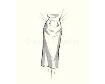 Vintage Fashion Sketch Dress 1, Girls Room decor, nursery decor, neutral tones, grey, cream, girls room prints