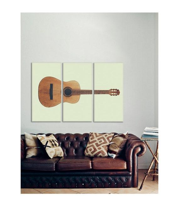 Vintage color acoustic guitar full view on 3 canvas split for Acoustic guitar decoration ideas