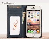 The Bella Fino iPhone 5 Wallet Case - Whiskey/Deep Sea Blue   Leather iPhone SE Case, Leather iPhone 5 Case