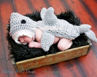 Instant Download Crochet Pattern No. 100 - Jawesome Shark Cuddle Critter Cape Set