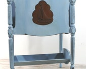 Hand Painted Vintage Wood Magazine Rack, Carved Sailboat, Louis Blue, ASCP