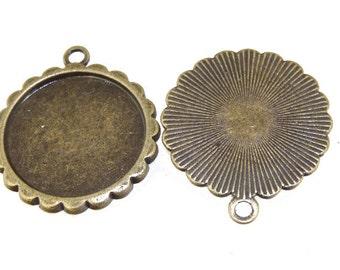 5pcs Antique Bronze Filigree Flower Circle Pendant Base Sawtooth Pad Base Findings base fit 20mm gemstone beads,Cabochon Base
