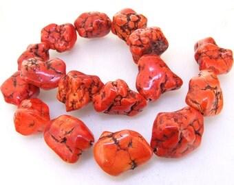 """Nugget Freedom Orange Turquoise Gemstone Beads 25mm-20mm One Strand 16"""""""