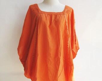 B11, Moth Orange Cotton Blouse, orange shirt