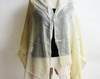 SC2, V Triple Light Yellow Cotton Scarf