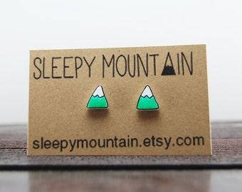 Mountain Earrings - Turquoise Snowcapped Mountain Peak Studs