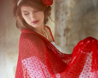 Red Linen Scarf Wedding Stole Bridesmaid Gift Stole Sheer Lace Shawl Knitted Scarf Occasion Women Scarf Gift Her Shawl