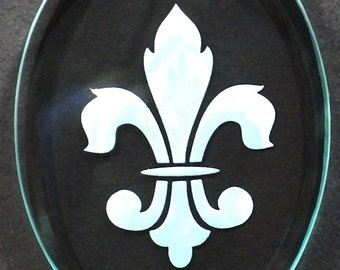 Carved Glass Fleur de Lis Ornament