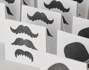 Mustache cards, Black and White Small Cards, Mini Cards Hats and Moustaches, Gender Reveal Cards for Boy, Set of 20 Mini Cards, Fathers Day