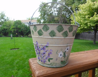 Small hand painted garden bucket