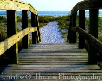 Beach Boardwalk Photographic Art Print - Beach photography 5x7