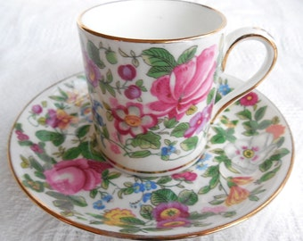 CROWN STAFFORDSHIRE Chintz Demitasse Cup and Saucer