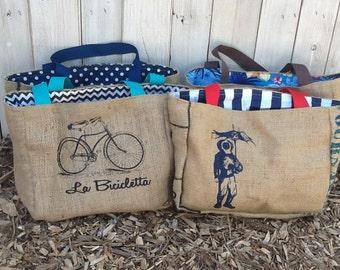 6 Semi Custom Tote Bags - Handmade from Recycled Coffee Sacks CC