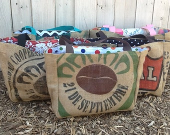 5 Semi Custom Eco-Friendly Tote Bags for Bridesmaids Gifls - Handmade from Recycled Coffee Sacks