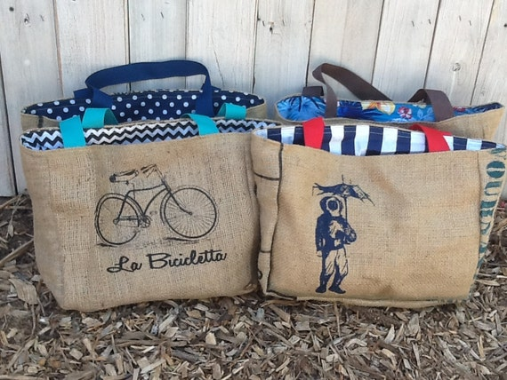 4 Eco-Friendly Semi Custom Tote Bags - Handmade from Recycled Coffee Sacks