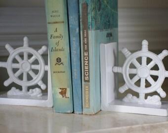Set of Ships Wheel Cast Iron Bookends - Nautical Decor