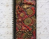 Red and Gold Japanese Polymer Clay Journal