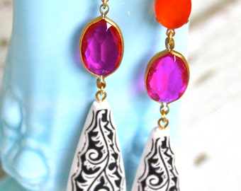 Vintage Orange Oval Glass Fuchsia Rhinestone Black and White Etched Bold Statement Drop Dangle Earrings - Wedding, Bridal,Statement Earrings