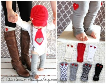 Baby Boy and Baby Girl Heart Valentine Leg Warmers.  Red, Black, Grey Gray, White, Red.  Valentine's Day Outfit, Accessories.