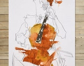 Quartet Series / 3 of 4 / 8.5 x 11 in. Art Print | modern abstract violin violinist musician wall art