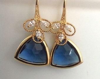 Dangle Earrings, Geometric earrings, Sapphire earrings, blue dangle earrings, mom gift