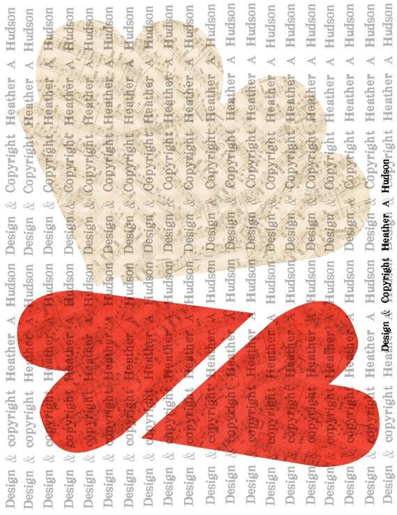 Primitive Victorian Vintage Valentine's Day heart pocket Digital Collage sheet Printable