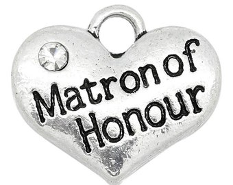 "1 or 2 or 4 pcs. Antique Silver ""Matron of Honour"" charm with rhinestone - 16mm X 14mm"