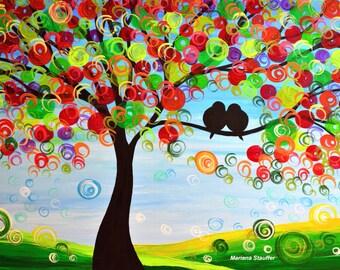 """tree painting love birds happy day acrylic on canvas 24x36"""" Mariana Stauffer Malorcka art"""