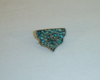 Antique Nelapese Himalayan Turquoise Inlaid Bronze Pin Brooch