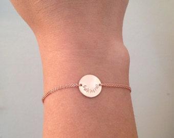 Monogram bracelet, rose gold, personalized- initial bracelet, sister, mother, handstamped, pink gold