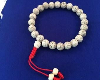 Tibetan mala Lotus Seed wrist mala with guru bead for meditation free mala pouch