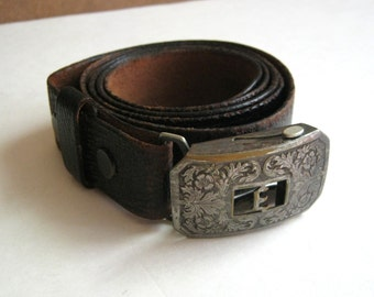 1920s hickok belt leather belt and silver buckle monogram initial E edwardian belt 1921