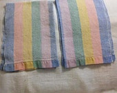 2 PASTEL STRIPED GUEST Tea Towels Soft Textured Cotton Print, Spring Blue Pink Yellow Green Double Hems 1950 Powder Room Hostess Pretties