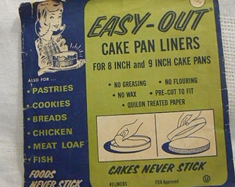 40 EASY OUT Cake PAN Liners, 8 or 9 Inch Paper Kitchen Baking Rounds, No Stick No Greasing or Oil, Dessert, Meat Loaf, Fish, Orig Package