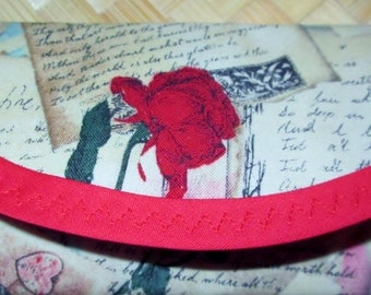 Wallets, 7 x 3 Vintage look Valentine Fabric, Love Cards, Red Rose, Letters Cotton, Money Gift, Clutch,