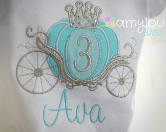 Cinderella Carriage Princess Birthday Toddler Tee Shirt - ANY AGE - Aqua, turquoise, silver